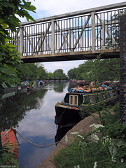 Tranquility (peterphotographic) Tags: p5170965edwm olympus em5mk2 microfourthirds peterhall tranquility walthamstow e17 eastlondon london england uk britain springfieldmarina riverlea riverlee river water boat canal ship vessel row rowing sculling mooring narrowboat canalboat bridge still prime wideangle
