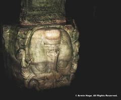 Medusa Head Pillar, Basilica Cistern (Armin Hage) Tags: turkey underground istanbul reservoir demon byzantine constantinople watersystem basilicacistern gorgon blackmagic medusaheadpillar