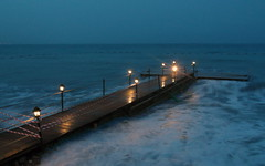 evening pier (kexi) Tags: water lights simple pier sea mediterranean turkey horizon samsung wb690 may 2015 instantfave seaside thebluehour