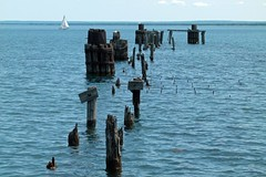 Part of Abandoned Dock (PGK88) Tags: wood old blue seascape abandoned water harbor decay perspective posts derelict