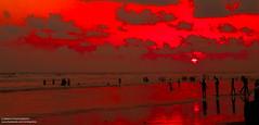 Sunset in the beach (IamMinhaj) Tags: sea sky beach water landscape sand tour outdoor bangladesh bayofbengal coxsbazar longestbeach