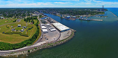 Oswego and Fort Ontario Aerial Panoramic (Matt Champlin) Tags: summer usa sun holiday ny history beach fun weekend pano panoramic aerial historical summertime lakeontario 4thofjuly uav independenceday oswego fortontario drones drone 2016 dji aerialpanoramic djiphantom4