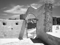 view at the Hassan-Pascha-Mosque (claudia.kiel) Tags: bw blackwhite kreta mosque greece crete sw griechenland mediterraneansea chania mittelmeer moschee einfarbig nauticalmuseum