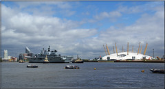 R06 - HMS Illustrious & the O2 Arena (PaulHP) Tags: london thames river anniversary aircraft greenwich navy o2 royal battle atlantic boa dome area lusty carrier 70th illustrious rn hms r06