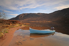 Loch Damh. (Gordie Broon.) Tags: mountains beach nature clouds reflections landscape geotagged photography scotland boat fishing scenery alba scenic may escocia hills yamaha schottland torridon westerross ecosse 1740l scottishhighlands shieldaig lochdamh balgy gordiebroon canoneos5dmklll
