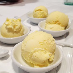 Olive oil & saffron ice cream which was devoured at last night cooking class at Casa Barilla (Sara McCleary) Tags: square squareformat iphoneography instagramapp uploaded:by=instagram