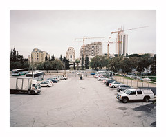 Untitled (iconicturn) Tags: urban cars 120 mamiya film car skyline analog mediumformat israel construction kodak jerusalem middleeast analogue 6x7 carpark portra mamiya7