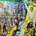 Un grande pannello dipinto rappresentate la storia di El Salvador
