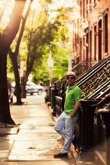 ([ raymond ]) Tags: street houses homes light portrait sunlight me hat vertical jerseycity downtown sidewalk brownstones stoops img7590