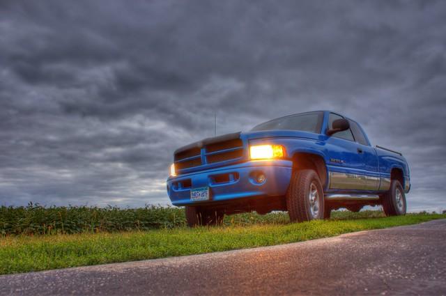blue field clouds rural truck dusk pov farm pickup headlights grill vehicle dodge crops ram 1500 godmadeafarmer