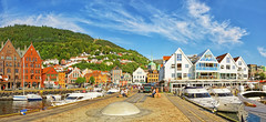 Bergen Harbor (Charn High ISO Low IQ) Tags: summer panorama norway harbor bergen scandinavia citycenter touristattraction canon6d
