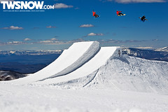 Lago_Willet_Bode_Serfas (soccersnwbrder) Tags: usa sport snowboarding spring jump freestyle colorado sunny northamerica hip aspen redbull snowmass method crail triplejump frontsideair backsideair weatherconditions scottylago parkjump ericwillett bodemerrill brainfarmcinema