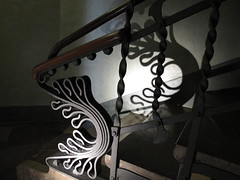 Shadow play 1 (Jo E Stan) Tags: barcelona stairs wroughtiron gaudi escalier barcelone palauguell modernista ferforg