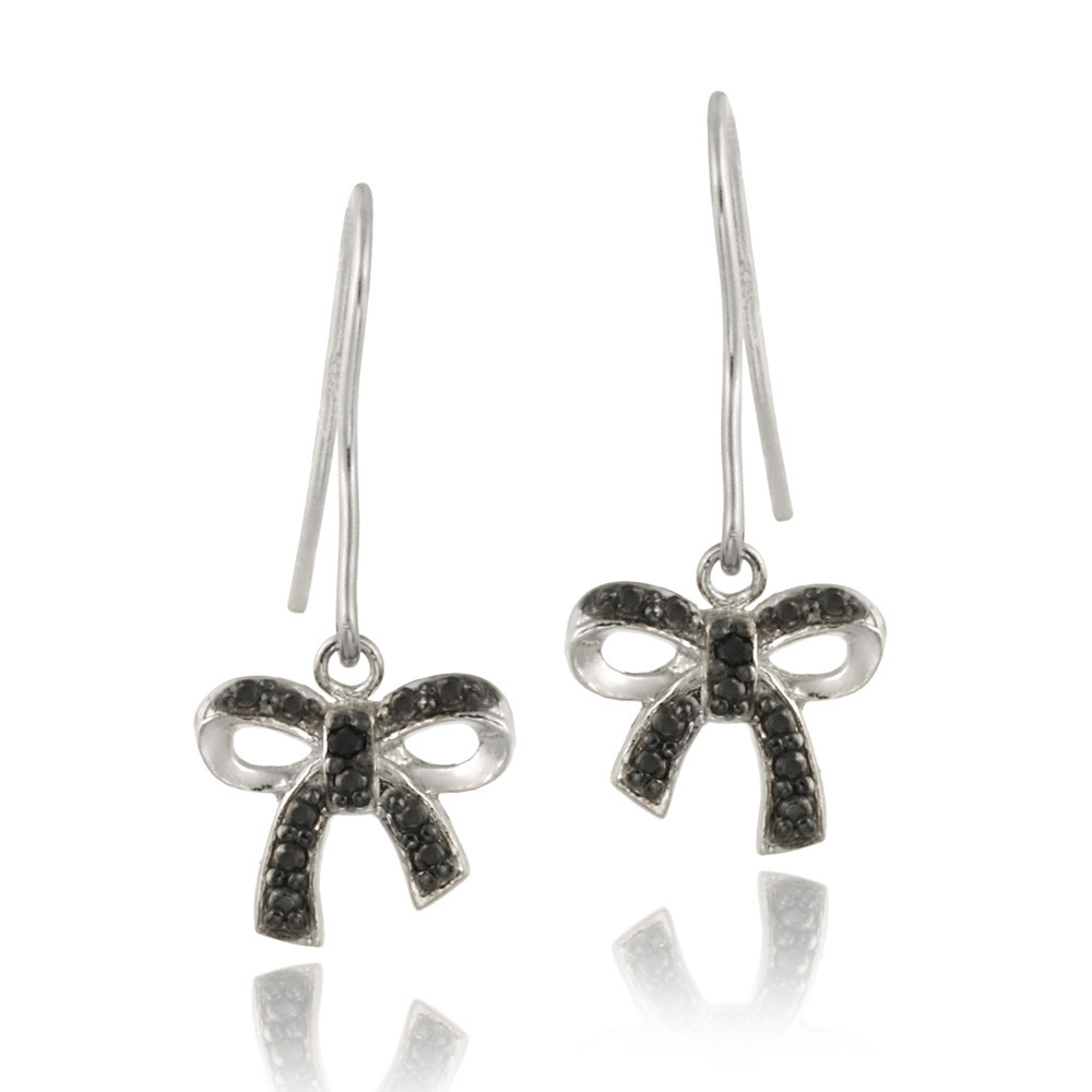 Black Flower Bow With Diamond: 925 Silver Black Diamond Accent Bow Dangle Earrings