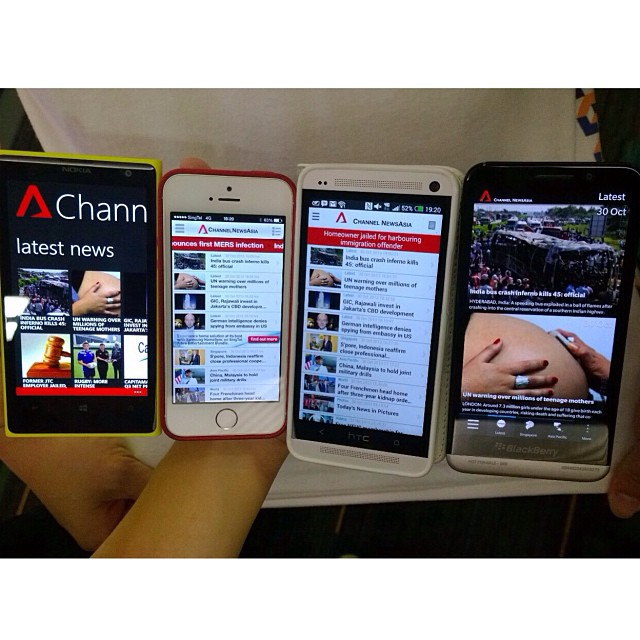 Channel NewsAsia app on all 4 different phone platforms. Which do you like?