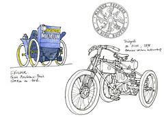 Clermont-Ferrand, L'aventure Michelin (gerard michel) Tags: auto france sketch michelin eclair clermontferrand croquis dedionbouton