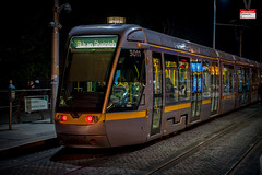 LUAS tram at night (PressVault.com) Tags: ireland dublin tram cobbled rails ie alstom luas sreet fingal citadis 4003 hpulling