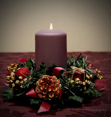 Christmas candle (pixiepic's) Tags: christmascandleflamebaublesribbonsblingdecorationpurplered