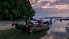 Longtail Ashore (killerturnip) Tags: travel sunset sky reflection beach clouds river asian thailand boats asia long sony tail exotic thai ao longtail krabi nang nopparat nopparatthara thara nex6