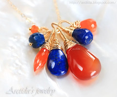Lyrelle - Carnelian Lapis lazuli necklace 14K gold filled complementary colors necklace. Handmade jewelry by Arctida. (Arctida) Tags: blue orange woman art colors beautiful fashion tangerine modern contrast pumpkin gold design necklace wire women europe decolletage sweden stockholm handmade witch feminine contemporary ooak awesome cluster navy azure style wrapped jewelry jewellery complementary chandelier ornaments future carrot glam handcrafted accessories 14k sverige unusual chic minimalism cleavage boho burlesque wicca luxury eclectic bohemian avant beaded garde opulent artisan pendant alternative scandinavian vermilion pagan lapis genuine cobalt lucious talisman plunge gemstone asymmetric carnelian neckline lazuli arctida