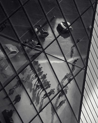 Upwards Downwards 1 (JeffStewartPhotos) Tags: road blackandwhite bw toronto ontario canada reflection cars blackwhite crystal sidewalk pedestrians toned rom automobiles royalontariomuseum bloorstreet bloorstreetwest michaelleechincrystal