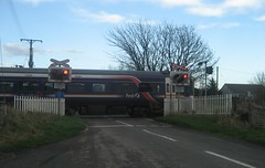 Watten level crossing in 2009 (Inverness Trucker) Tags: railroad scotland highlands crossing north first railway scotrail line highland level far railroadcrossing 158 fnl caithness trafficsignals levelcrossing wigwag dmu firstscotrail class158 watten wigwags farnorthline aocl