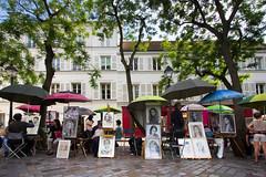 Montmartre Portrait Plaza (cdavidruth) Tags: portrait paris france color art painting drawing montmartre umbrellas
