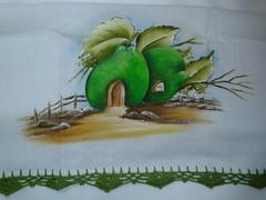 Pano de prato Pintado - Casinha Limão A007 (SaluArts) Tags: de pano artesanato em prato copa pintura tecido