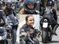 Motorcycle.... (402) (anjaschmidt1982) Tags: girl leather eyes helmet flipoff gear racing chick suit gloves ladys motorcycle protective edition dressed ari visor lay shoei fullface schuberth