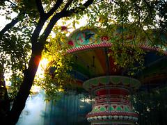 Romance (Sandra Lechner) Tags: halloween fog atmosphere carousel flags six