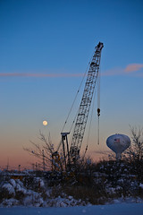 Night Crane - Day 33/Feb 2 (Wes Reder) Tags: blue winter sunset moon snow cold tower ice water fence evening construction crane