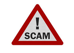 Scammed! (Timcan2904) Tags: red white sign warning cutout idea notice background deception security roadsign isolation signpost concept theft isolated threat alert scam fraud