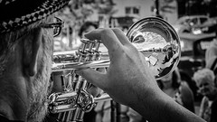 Band reflections (dave.fergy) Tags: music white reflection mono events trumpet event sunsetcinema