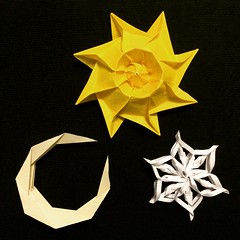 Objects from Space (joeygami) Tags: snowflake light sun moon dark stars star origami space crescent galaxy outerspace lightanddark crescentmoon papersnowflake