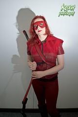 IMG_0364 (Neil Keogh Photography) Tags: red black female comics dc pants mask top jacket hero hood cosplayer dccomics armour merc redarrow mercenary bowarrow salfordcomiccon2016