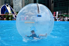 The boy in the bubble (jeremyhughes) Tags: singapore dbsmarinaregatta2016 bubble orb boy water watery fun pool child play playing game zorb blue active activity nikon d750 nikkor 35mm 35mmf20d