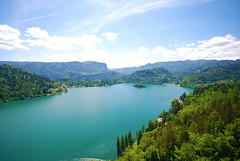 Bled, Slovenia (West Tribe) Tags: mountain lake church forest europe european hills slovenia bled slovene