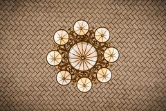 Look up! (pmobiled) Tags: stilllife newyork art history texture tile text indoor ceiling chandelier round minimalism ellisisland