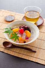 Traditional Japanese confectionery, Anmitsu Algae jelly and red bean paste served with honey (yumehana) Tags: summer stilllife orange fruit dessert sweet paste traditional mint gourmet honey cube jelly syrup studioshot japanesefood copyspace rarely redbean herb herbal confectionery peeled confection anko mandarinorange azuki wagashi agar anmitsu traditionalfood japanesecuisine peeledorange summerfood gourmetfood redbeanpaste sweetfood gourmetdessert kantenjelly algaejelly
