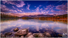 Beauvert Lake Sunset (Moe Ali Photography) Tags: blue autumn sunset sky orange lake tourism water clouds reflections landscape outdoors spring rocks jasper glow peaceful alberta hd beauvert widelens canon7dmarkii canon1018mmstm