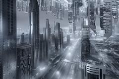 DUKONG (Titanium007) Tags: china panorama monochrome horizontal skyline hongkong fantastic asia dubai cityscape upsidedown fineart towers uae aerialview monochromatic fantasy scifi unitedarabemirates futuristic photocomposite conceptualphotography conceptphotography