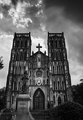 Gotham City (Marc Molenaar) Tags: threatening leicaq church blackandwhite asia travel street dark cityandarchitecture stjosephcathedral doom emotions vietnam cathedral hanoi architecture bw blackwhite city cityarchitecture feelings orient saintjoseph stjoseph streetlife