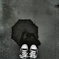 Rainy (agnes.mezosi) Tags: reflection water girl monochrome rain mobile umbrella reflections puddle autoportrait samsung monochromatic rainy mobilephoto selfie