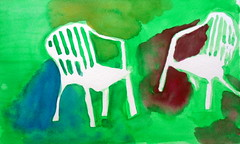 Two chairs, wd, by Carlos - DSC03054 (Dona Mincia) Tags: 2 two white green art branco watercolor painting paper chair arte preto sd study wd cadeira duas aquarela withoutdrawing pitnura semdesenho