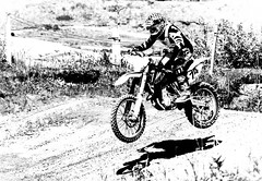 and...Action! (morag.darby) Tags: shadow blackandwhite bw man contrast digital mono scotland nikon motorbike biker nikkor motorcross doune monchrome d3300