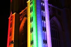 Wills Memorial Building Pride Bristol (c10lmw) Tags: light colour building architecture night bristol rainbow memorial gothic pride wills