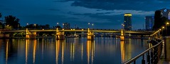 (Paul B0udreau) Tags: frankfurt raw nikon germany lights tripod bridge mainriver people longexposure padlocks bluehour panocrop untermainbrcke reflections guardrail water