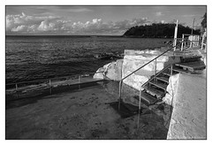 rock pool, Sydney  #185 (lynnb's snaps) Tags: ocean bw film beach stairs coast manly 28mm steps sydney olympus rodinal rockpool 2016 fairybower panfplus omzuiko28mmf35