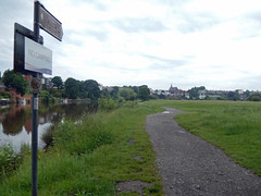 Signs onto Earl's Eye, 2016 Jun 15 (Dunnock_D) Tags: uk england sky cloud signs green grass sign river grey cloudy unitedkingdom britain path meadows chester signpost dee riverbank footpath