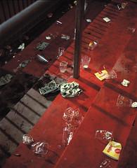 118 (Anders Hviid) Tags: post game kiel holstein groundhopping football red terrace empty beer cups plaubel makina film analog negative 160 kodak portra germany 3 bundesliga